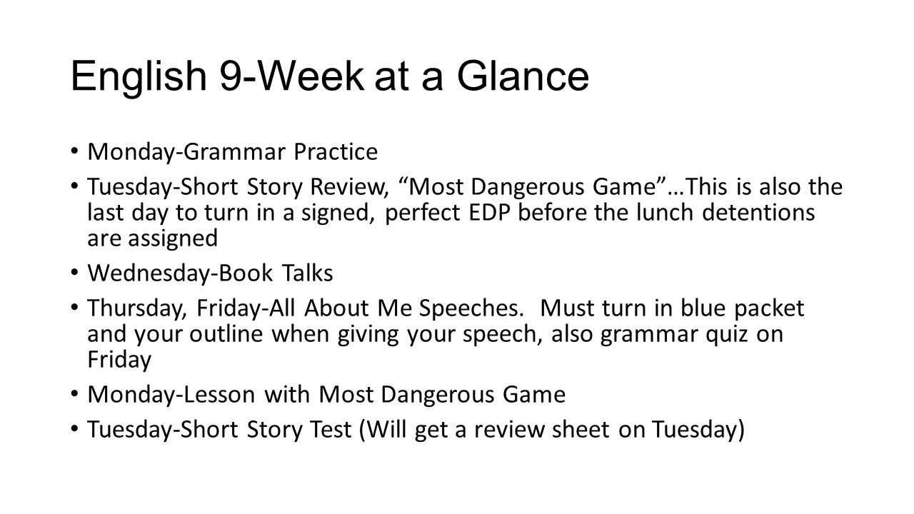 English 9-Week at a Glance