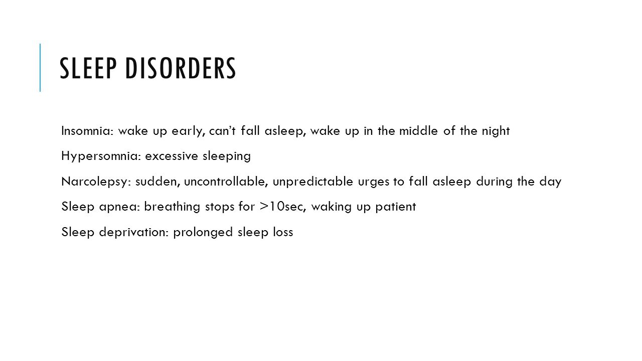 Sleep Disorders Insomnia: Wake Up Early, Can't Fall Asleep, Wake Up