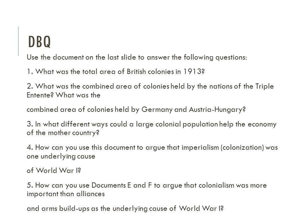 dbq essay on causes of world war 1