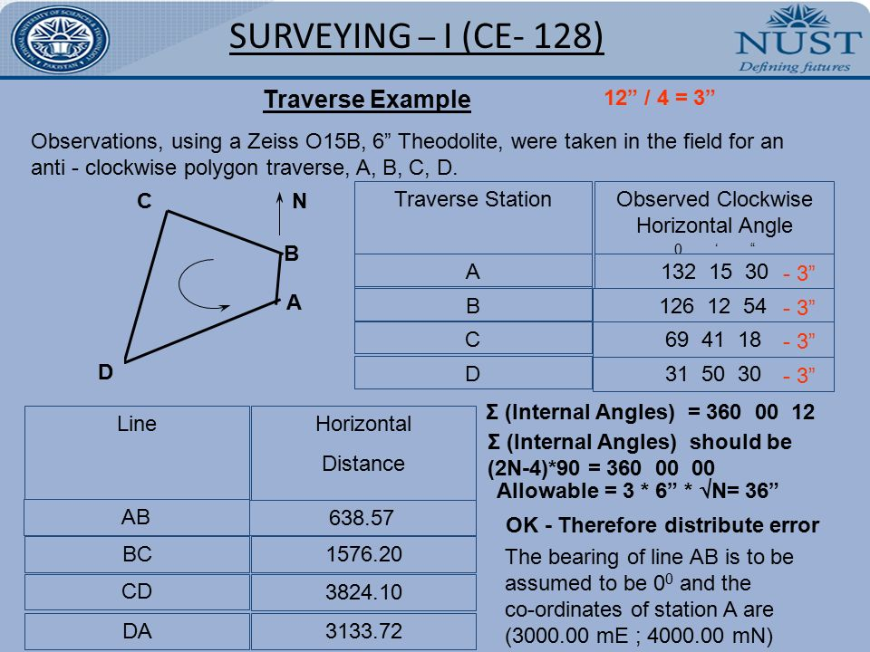 Civil D Draw Line Bearing Distance : Traversing surveying i ce ppt video online download