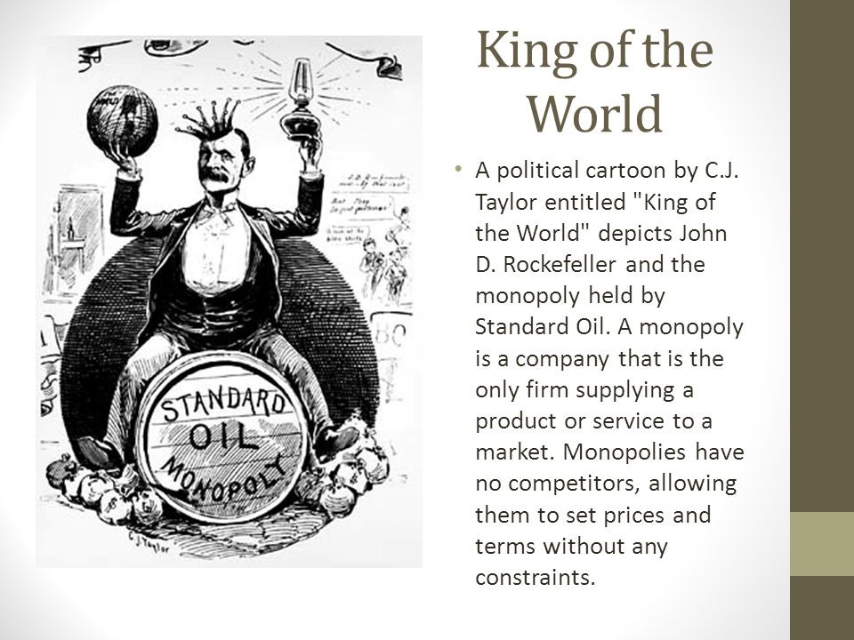 oil monopoly essay By 1879, rockefeller controlled 95% of america's oil refining industry at this time, he also organized this empire into a trust the standard oil trust operated 27 oil.