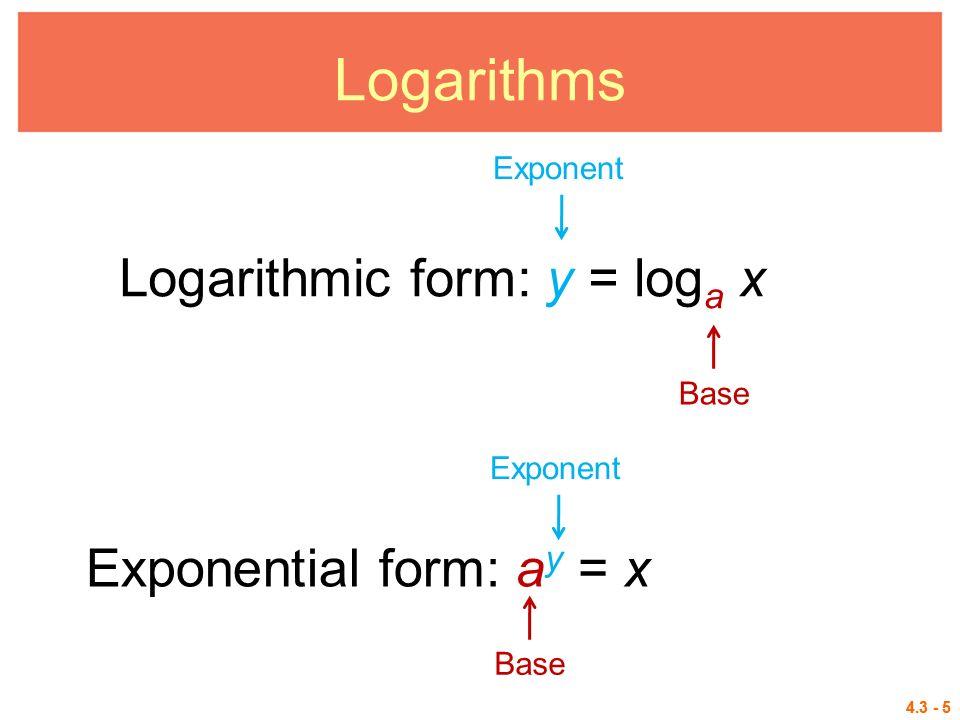 4.3 Logarithmic Functions Logarithms Logarithmic Equations ...