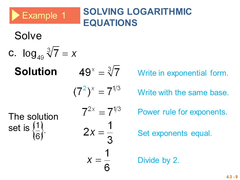 4.3 Logarithmic Functions Logarithms Logarithmic Equations ...