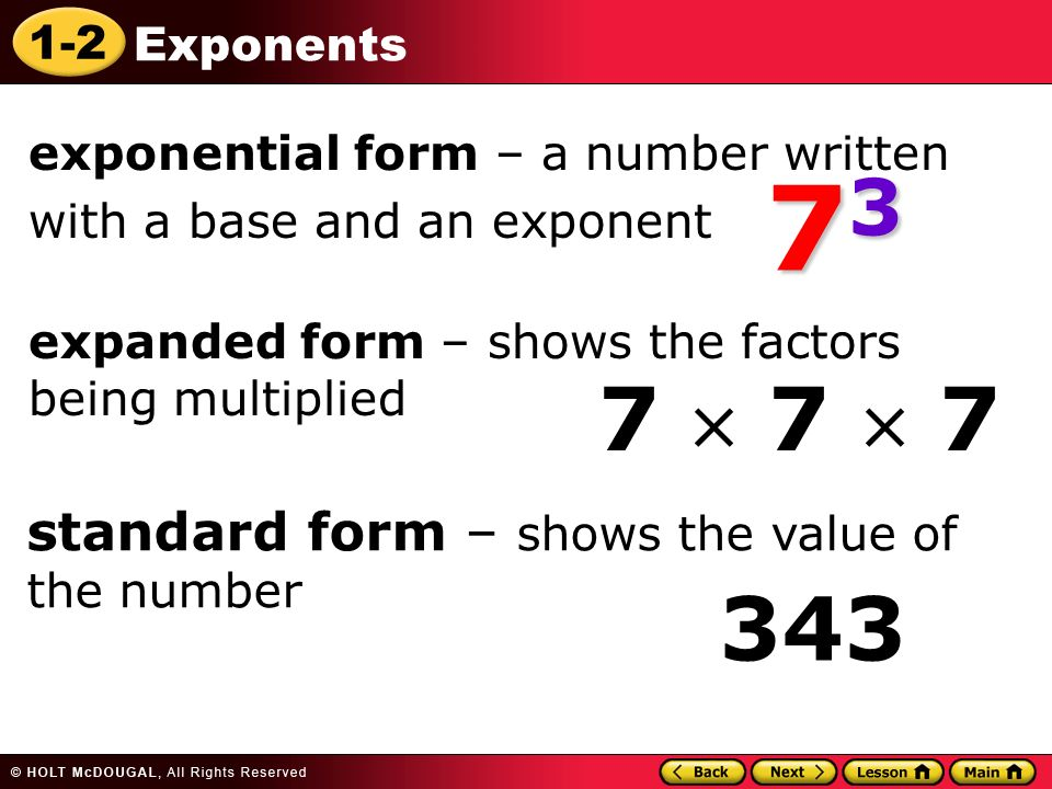 I can represent numbers by using exponents in numerical ...