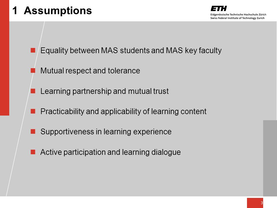 1 Assumptions Equality between MAS students and MAS key faculty