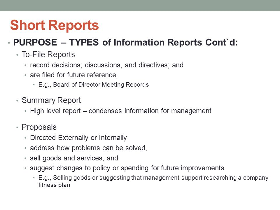 types of business reports according to purpose