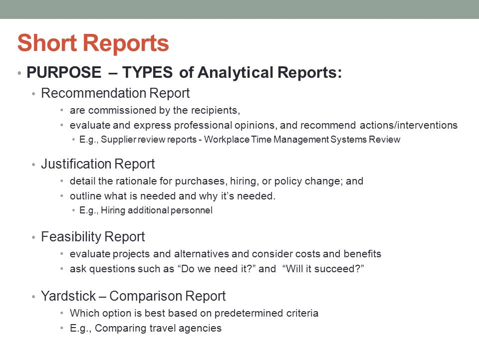 Analytical Report Format. Formal Report: Format, Parts