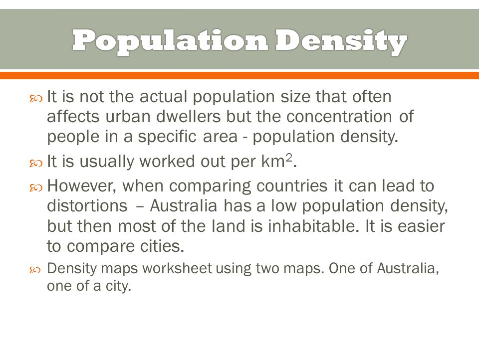 Year 10 Geography URBAN POPULATIONS ppt download – Population Density Worksheet