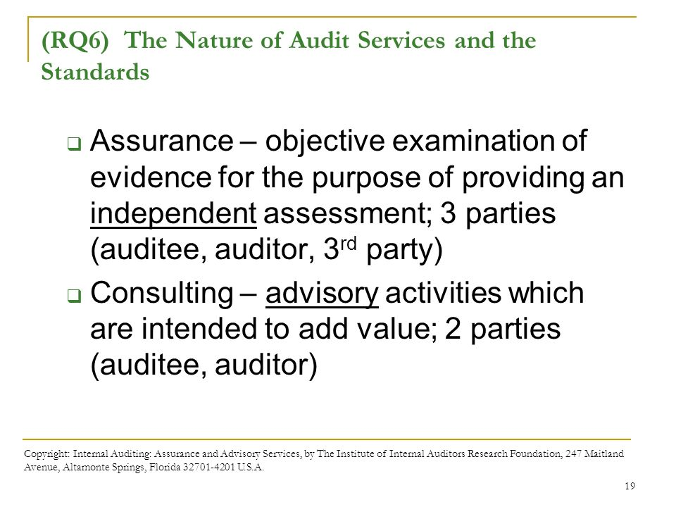 Chapter 2 the international professional practices framework rq6 the nature of audit services and the standards 20 exhibit 2 3 copyright internal auditing assurance and advisory fandeluxe Gallery