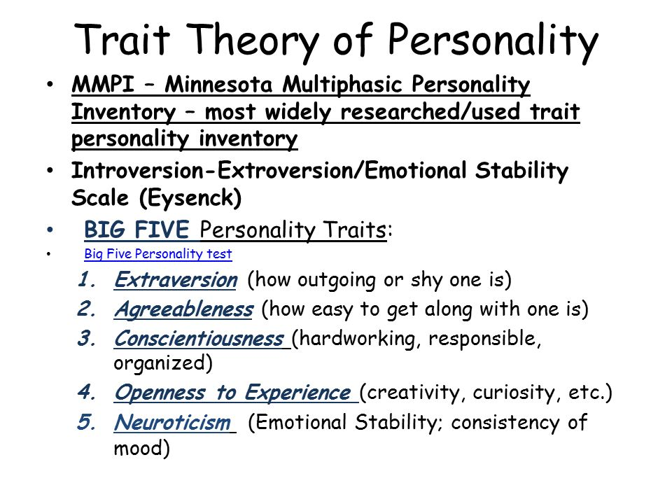 """a narrative of my score on the big 5 theory of personality The five-factor model of personality (ffm) is a set of five broad trait dimensions or  domains, often referred to as the """"big five"""": extraversion,."""