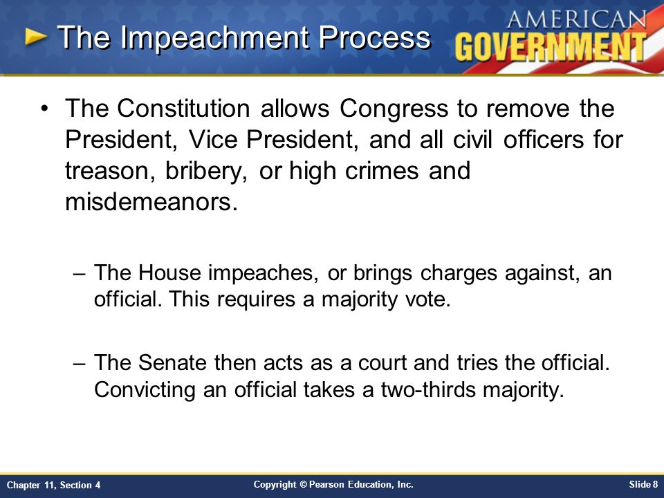 the impeachment process An increasing number of democrats are pushing for president donald trump's impeachment  who first declared his intention to initiate the impeachment process.