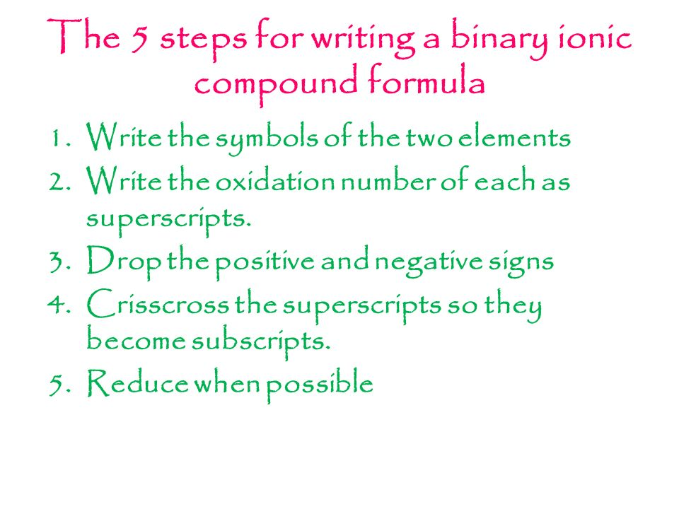 writing formulas binary compounds Writing formulas writing formulas for binary molecular compounds is like decoding a message if you can name a compound from its formula, then it's easy to do the reverse we will rely on some of the same rules and use essentially the same four steps rule 1 and 2 remain unchanged.