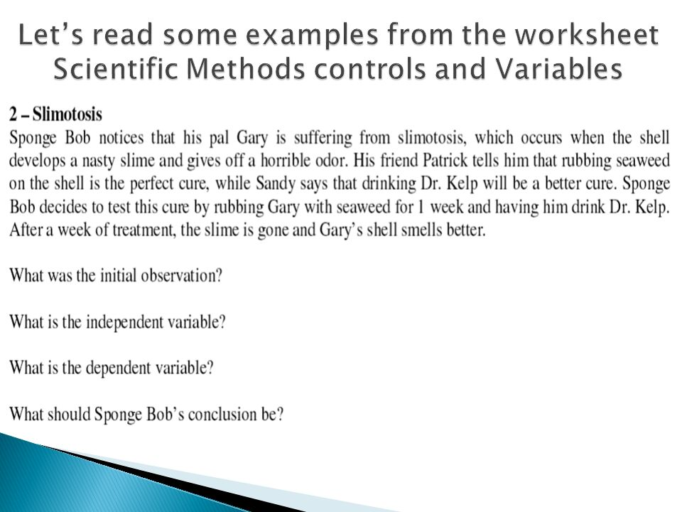 5 Minute Check 92815 Why would you want to have only 1 variable – Science Variables Worksheet