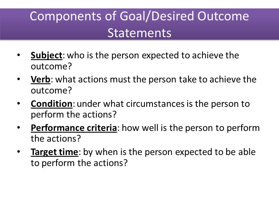 how to write an outcome statement nursing