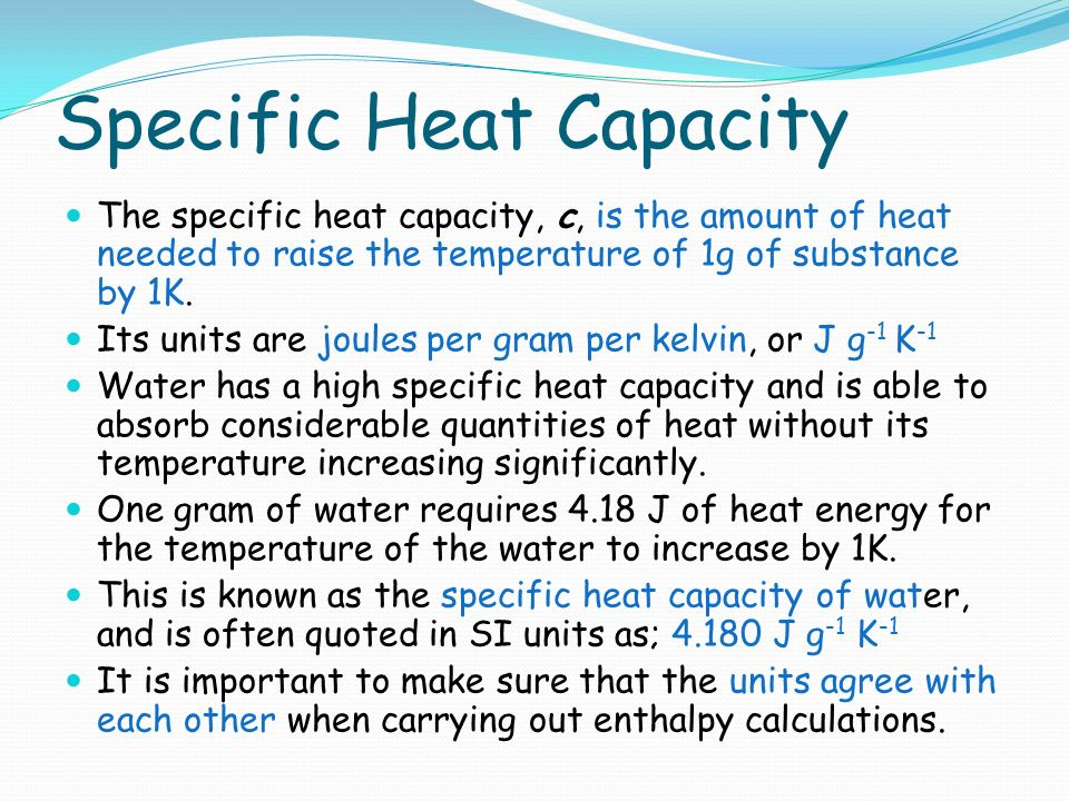 how to find specific heat capacity of water