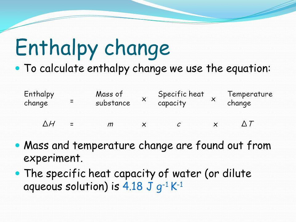 measuring the enthalpy change for the reaction essay Calorimeter used for calorimetry print many moles of x were present gives its enthalpy change of reaction to measure change in.