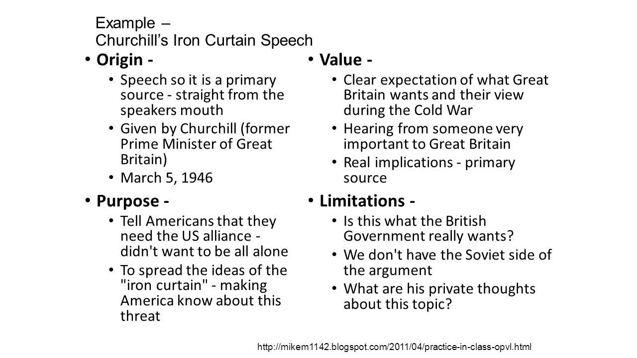 Iron curtain speech - Example Churchill S Iron Curtain Speech