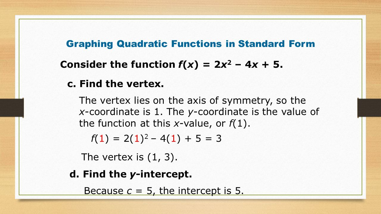 Graphing quadratic functions in standard form ppt video online graphing quadratic functions in standard form falaconquin
