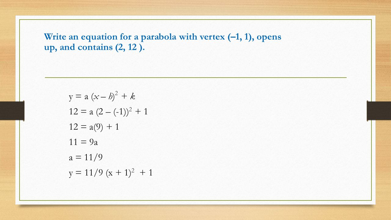 Graphing quadratic functions in standard form ppt video online 5 write an equation falaconquin
