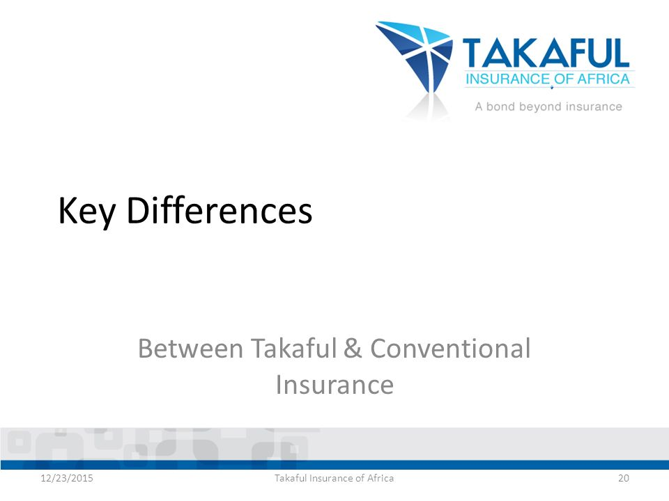 conventional insurance versus takaful Competitiveness of conventional and takaful insurers from different countries  1  however, some form of mutual or takaful-like insurance can be traced as far.