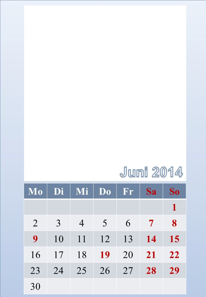 Juni 2014 Mo. Di. Mi. Do. Fr. Sa. So. 1. 2. 3. 4. 5. 6. 7. 8. 9. 10. 11. 12. 13.