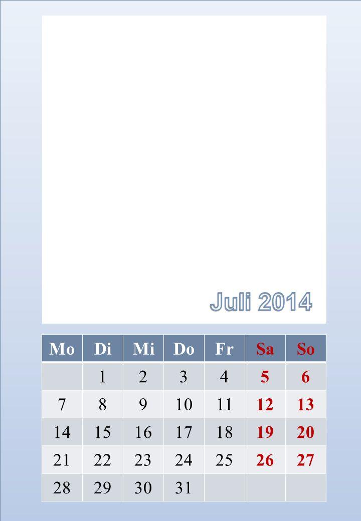 Juli 2014 Mo. Di. Mi. Do. Fr. Sa. So. 1. 2. 3. 4. 5. 6. 7. 8. 9. 10. 11. 12. 13.