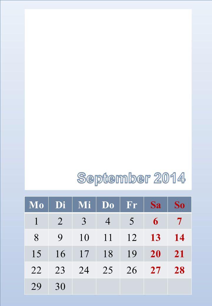 September 2014 Mo Di Mi Do Fr Sa So 1 2 3 4 5 6 7 8 9 10 11 12 13 14