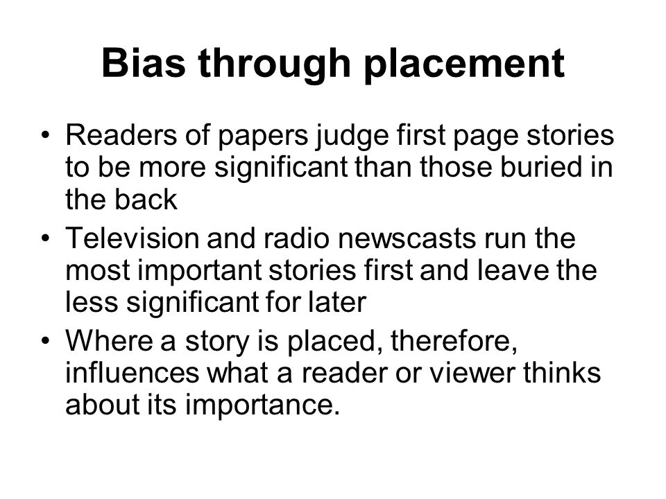 Comparison of two articles about bias in the News Media - Essay Example