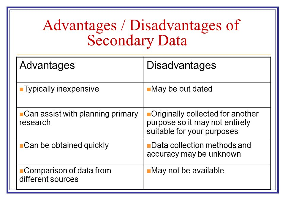 primary research advantages and disadvantages Advantages is gathered first  primary data should be valid because the study is designed and carried out for the main purpose of the research.