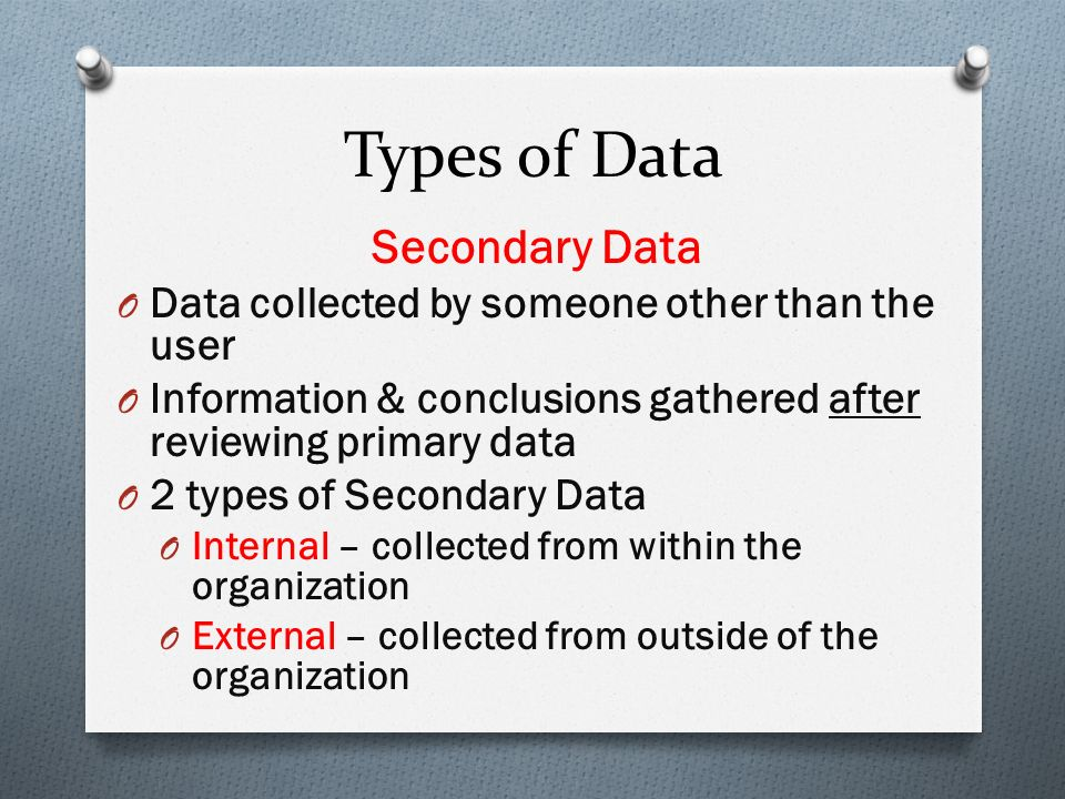 secondary research internal sources Marketing research requires data, and secondary data is often the most convenient and you can break the sources of secondary data into internal sources and.