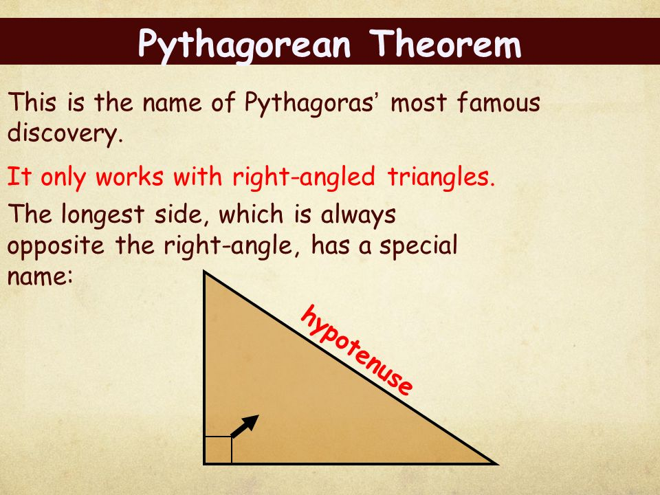 the pythagorean theorem How to use the pythagorean theorem the pythagorean theorem describes the lengths of the sides of a right triangle in a way that is so elegant and practical that the theorem is still widely used today.