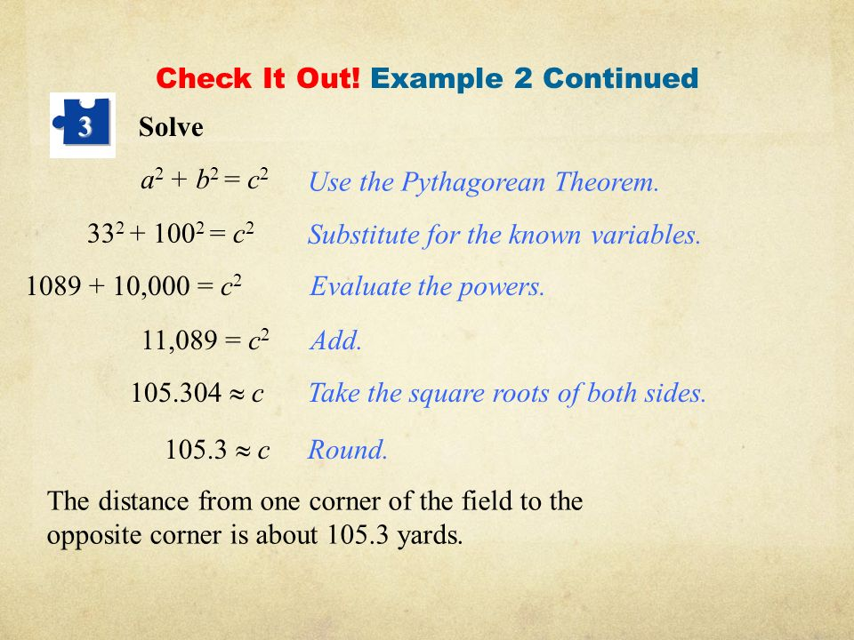 The pythagorean theorem ppt video online download for Square root of 1089