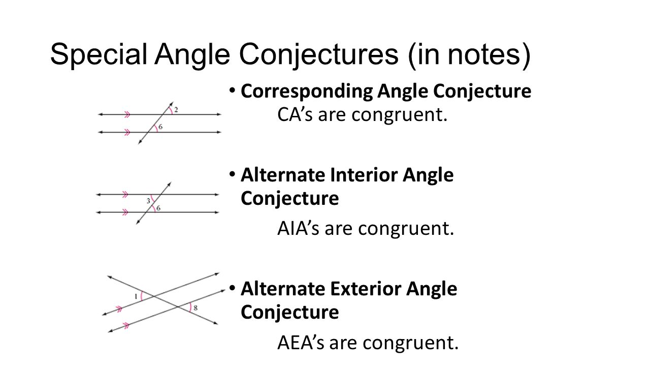 Geometry unit 2 october textbook chs 1 2 ppt video Alternate exterior angles conjecture