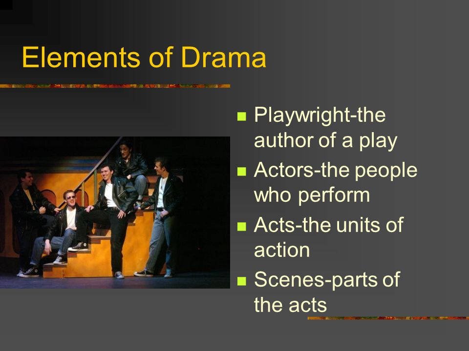 Elements of Drama Playwright-the author of a play