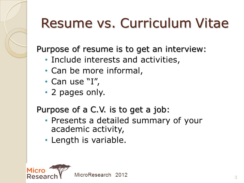 developing your curriculum vitae