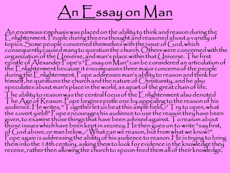 alexander pope an essay on man ppt an essay on man