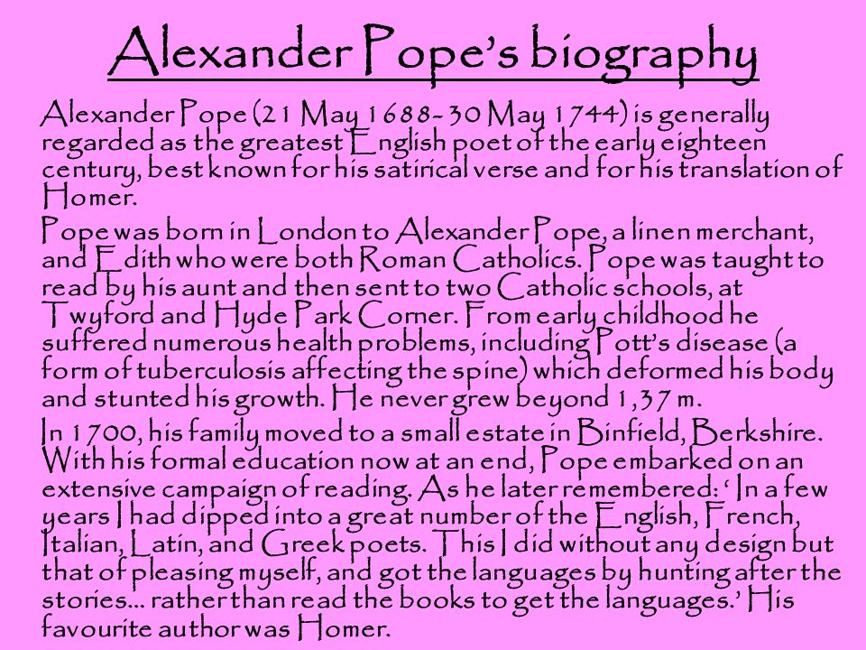 alexander pope an essay on man ppt  3 alexander pope s biography