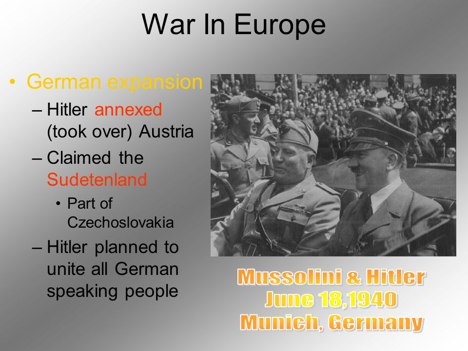 War In Europe Mussolini & Hitler June 18,1940 Munich, Germany