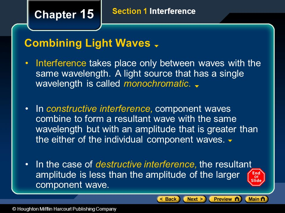 Chapter 15 Preview Objectives Combining Light Waves - ppt video ...