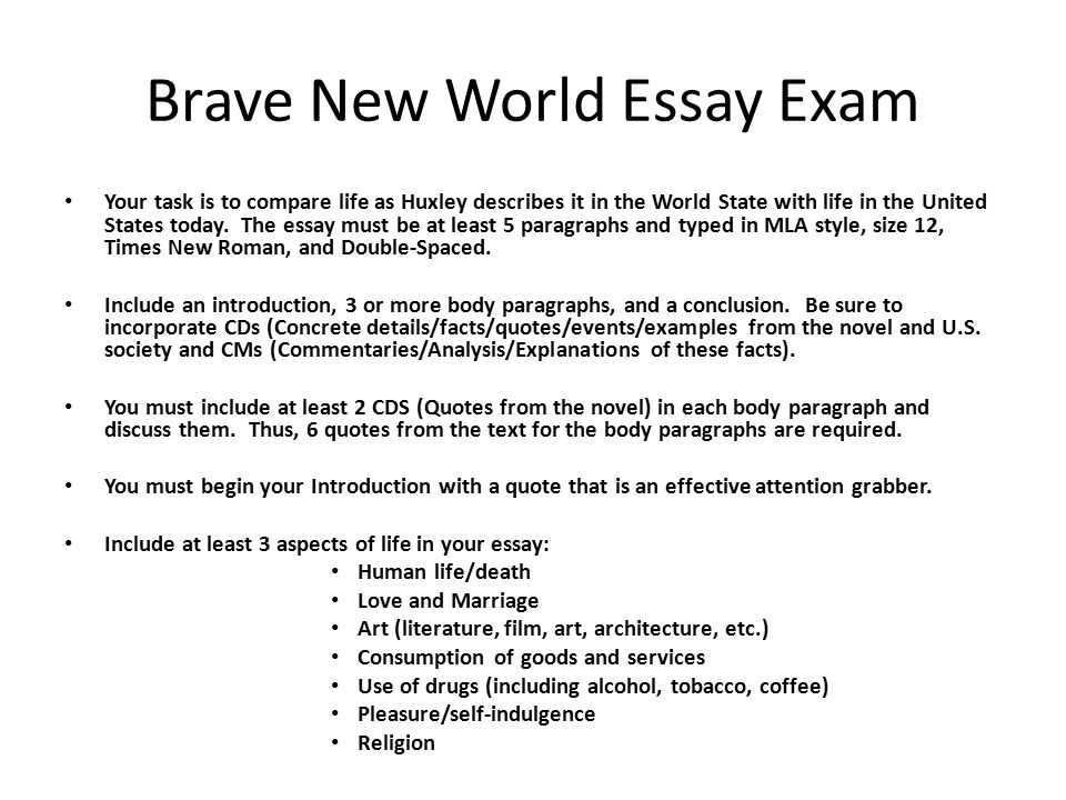 brave new world essay Suggested essay topics and study questions for aldous huxley's brave new world perfect for students who have to write brave new world essays.