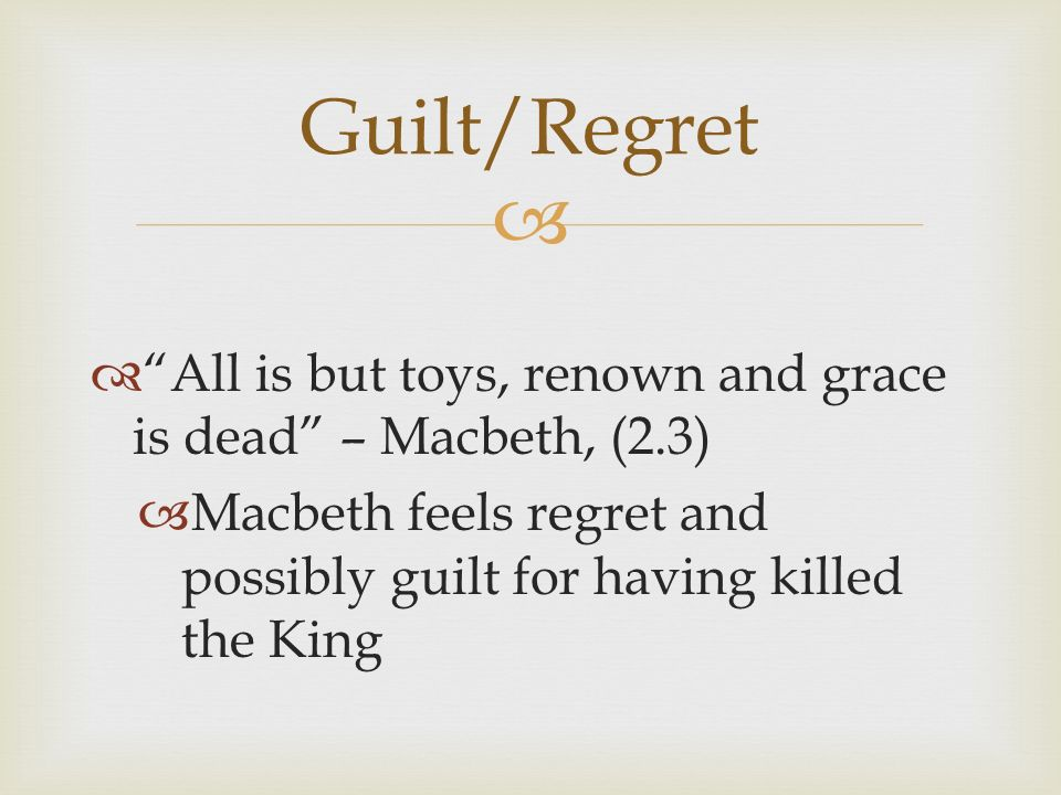 guilt in macbeth While the doctor and the gentlewoman look on, lady macbeth frantically tries to  rub an invisible stain from her  lady macbeth's guilt finally catches up with her.