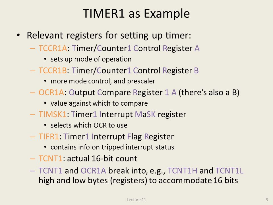 TIMER1 as Example Relevant registers for setting up timer: