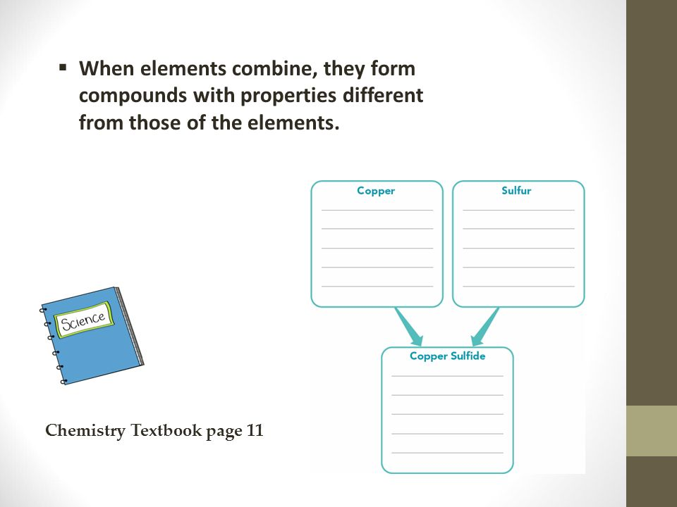 When elements combine, they form compounds with properties different from those of the elements.