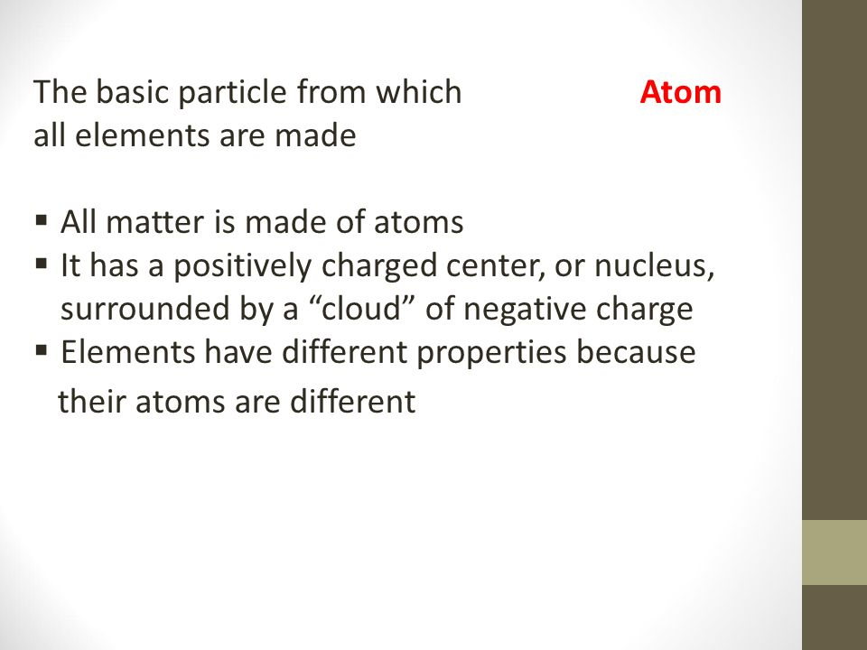 The basic particle from which Atom