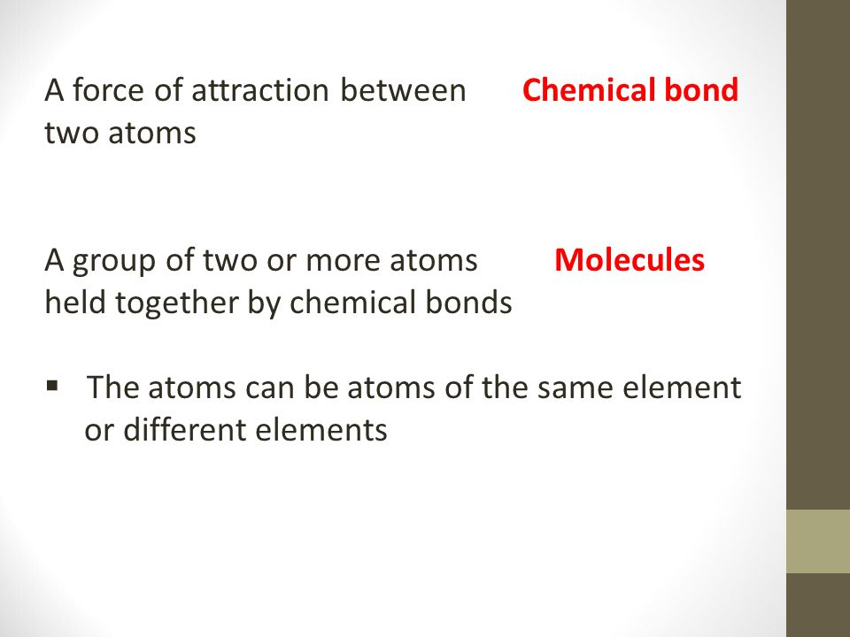 A force of attraction between Chemical bond