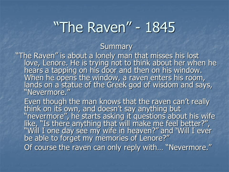 the raven essay Immediately download the the raven summary, chapter-by-chapter analysis, book notes, essays, quotes, character descriptions, lesson plans, and more - everything you need for studying or teaching the raven.