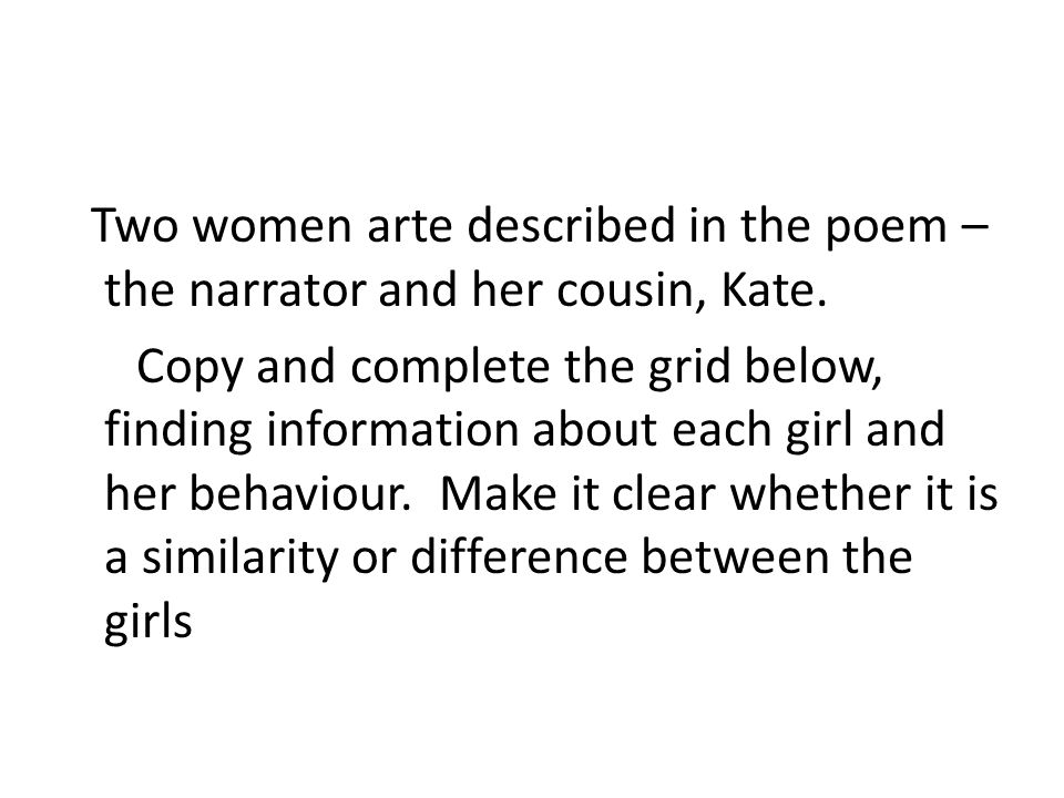 lo to complete some close analysis using the spirit template  two women arte described in the poem the narrator and her cousin kate