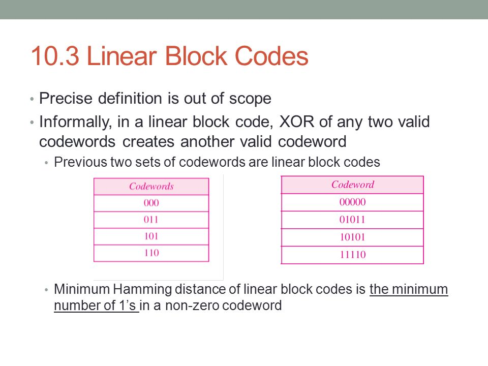 10.3 Linear Block Codes Precise definition is out of scope