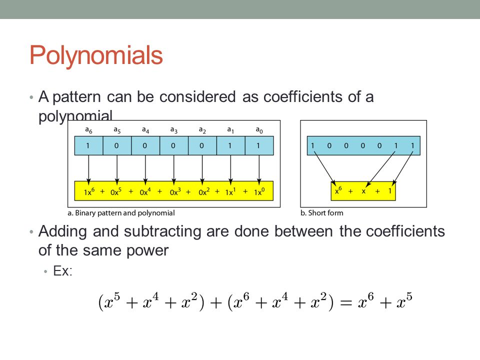 Polynomials A pattern can be considered as coefficients of a polynomial. Adding and subtracting are done between the coefficients of the same power.