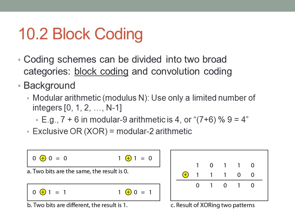 10.2 Block Coding Coding schemes can be divided into two broad categories: block coding and convolution coding.